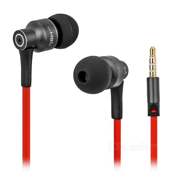 JBMMJ MJ8600 Super Bass In-Ear Earphone w/ Mic / Remote - Black + Red
