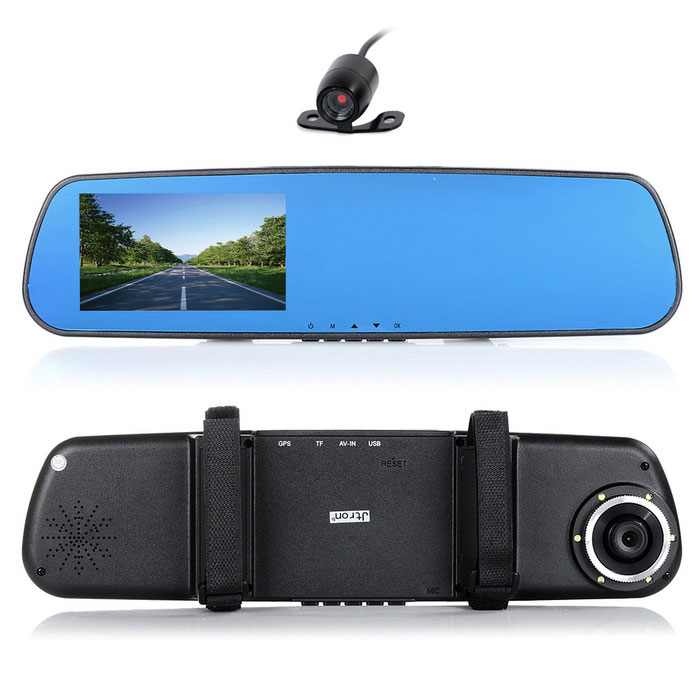 "Jtron 5.0"" 120' Wide-Angle Car Rearview Mirror DVR Camcorder - Black"