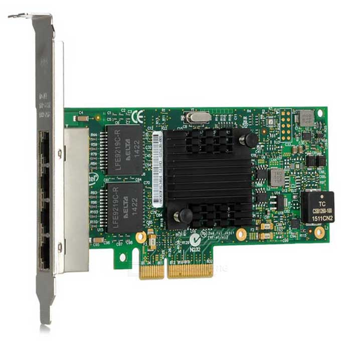 1000Mbps RJ45 PCI-E i350AM4 Network Adapter Card - Green + Multicolor