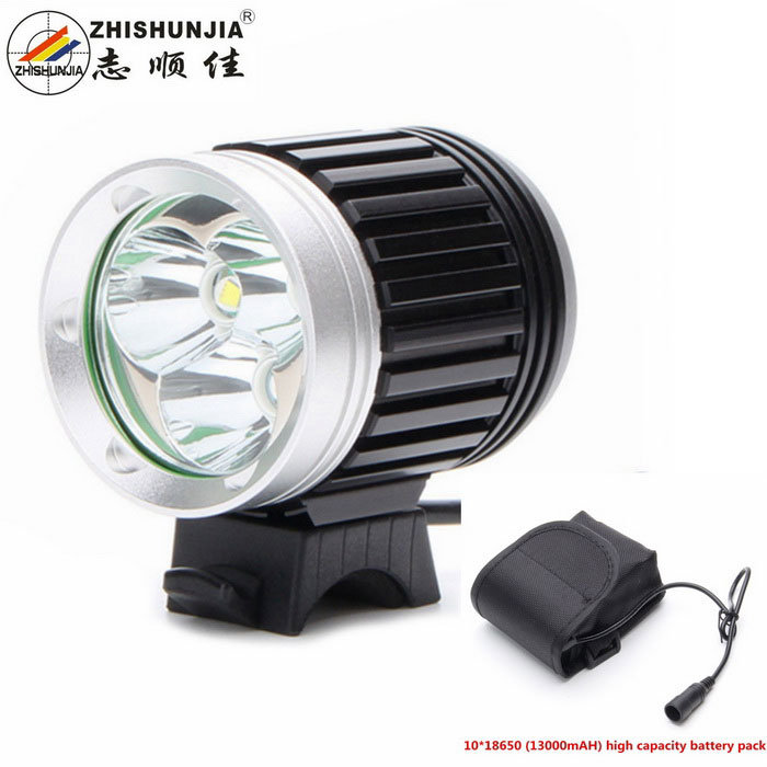 ZHISHUNJIA T6 3-LED 4-Mode White Bike Light Headlight - Black + Silver