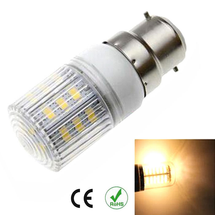 B22 6W LED Corn Light Warm White 3000K 600lm 24-5630 SMD (AC 220~240V)Other Connector Bulbs<br>Form  ColorWhiteColor BINWarm WhiteMaterialPVC + PCBQuantity1 DX.PCM.Model.AttributeModel.UnitPower6WRated VoltageAC 220-240 DX.PCM.Model.AttributeModel.UnitConnector TypeB22Chip Type5630Emitter TypeLEDTotal Emitters24Theoretical Lumens700 DX.PCM.Model.AttributeModel.UnitActual Lumens600 DX.PCM.Model.AttributeModel.UnitColor Temperature3000KDimmableNoBeam Angle360 DX.PCM.Model.AttributeModel.UnitCertificationCEPacking List1 x Corn light<br>