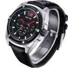 WEIDE WH3306 Men's Waterproof Leather Strap Quartz Analog Watch - Red
