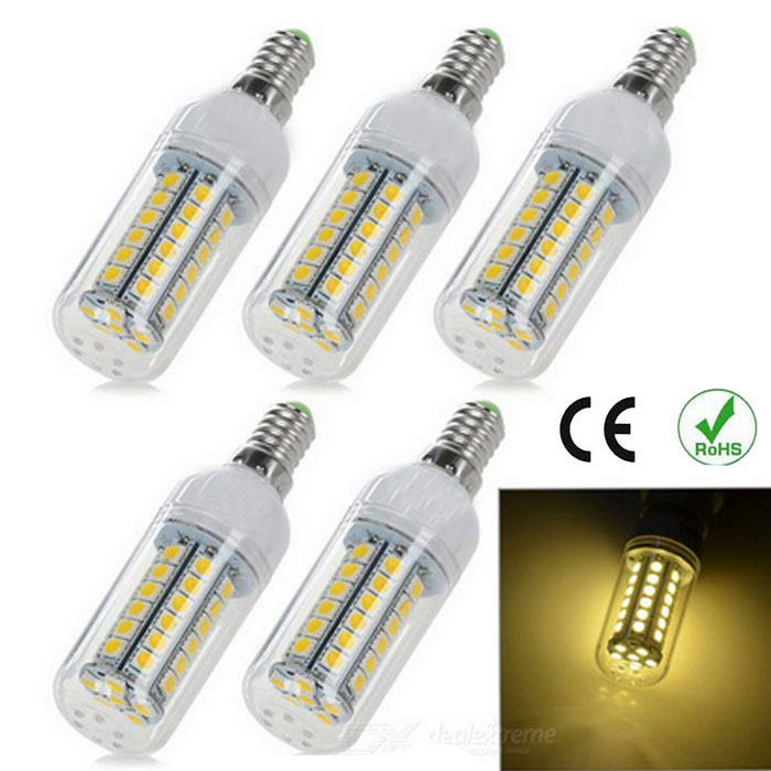 E14 8W LED Corn Lamps Warm White 3200K 1200lm 48-SMD 5050 (5PCS)