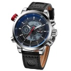 WEIDE Men's Leather Strap Analog & Digital Sports Watch - Black