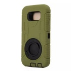 TPU Ring Holder Full Body Case for Samsung Galaxy S6 - Army Green