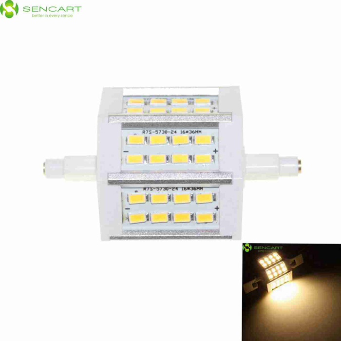 SENCART R7S 8W LED Flood Light Bulb Lamp Warm White 3000K 720lm SMDForm  ColorWhite + Silver Grey + Multi-ColoredColor BINWarm WhiteMaterialPCB + aluminium alloyQuantity1 DX.PCM.Model.AttributeModel.UnitPowerOthers,8WRated VoltageAC 85-265 DX.PCM.Model.AttributeModel.UnitConnector TypeOthers,R7SChip Type5730Emitter TypeOthers,5730 SMD LEDTotal Emitters24Theoretical Lumens800 DX.PCM.Model.AttributeModel.UnitActual Lumens720 DX.PCM.Model.AttributeModel.UnitColor Temperature3000KDimmableNoBeam Angle120 DX.PCM.Model.AttributeModel.UnitCertificationCE, RoHSPacking List1 x Lamp<br>