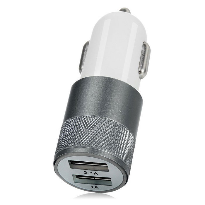 Jtron Universal 5V 3.1A 2-USB Car Charger Adapter - White + Dark Grey