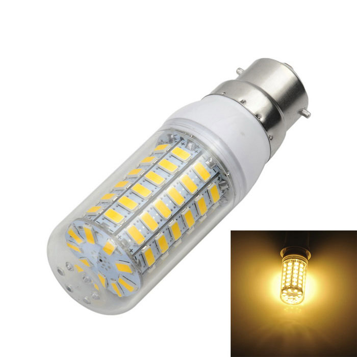 B22 12W 1000lm Warm White Light 69-SMD LED Corn Lamp (AC 220~240V)Other Connector Bulbs<br>Form  ColorWhite + Yellow + Multi-ColoredColor BINWarm WhiteMaterialAluminum + plasticQuantity1 DX.PCM.Model.AttributeModel.UnitPower12WRated VoltageAC 220-240 DX.PCM.Model.AttributeModel.UnitConnector TypeB22Emitter TypeOthers,5730 SMDTotal Emitters69Actual Lumens900~1000 DX.PCM.Model.AttributeModel.UnitColor Temperature3000KDimmableNoBeam Angle360 DX.PCM.Model.AttributeModel.UnitPacking List1 x LED bulb<br>