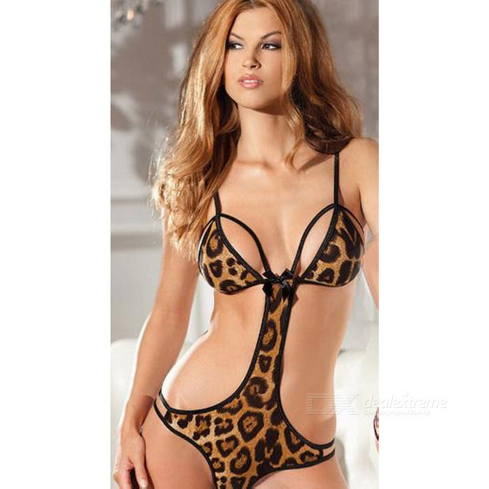 Buy Leopard Print Bikini Style Sexy Lingerie - Leopard Black with Litecoins with Free Shipping on Gipsybee.com