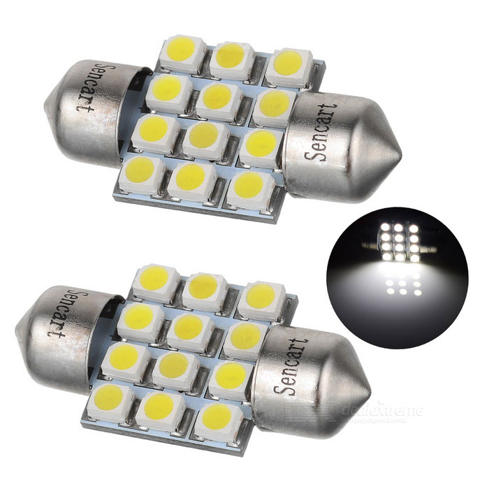 Festoon 31mm 3W LED Car Reading / Roof Light Cold White 300lm (2PCS)Car Interior Lights<br>Color BINCold WhiteModelN/AQuantity1 DX.PCM.Model.AttributeModel.UnitMaterialPCBForm ColorBlack + SilverEmitter TypeLEDChip BrandOthers,N/AChip Type2835 SMDTotal EmittersOthers,12Power3WColor Temperature6500 DX.PCM.Model.AttributeModel.UnitActual Lumens300 DX.PCM.Model.AttributeModel.UnitRate Voltage12VWaterproof FunctionNoConnector TypeOthers,31mmOther FeaturesIndicator lamp, Roof light, Reading lampApplicationIndicator lamp,Roof light,Reading lampPacking List2 x LED car lights<br>