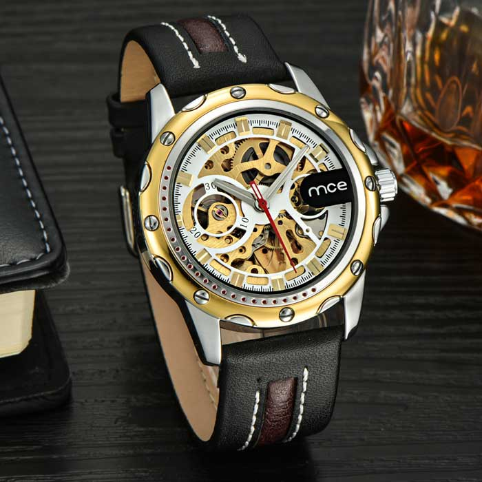 MCE Men's Auto-Mechanical Hollow Engraving Watch - Black + White