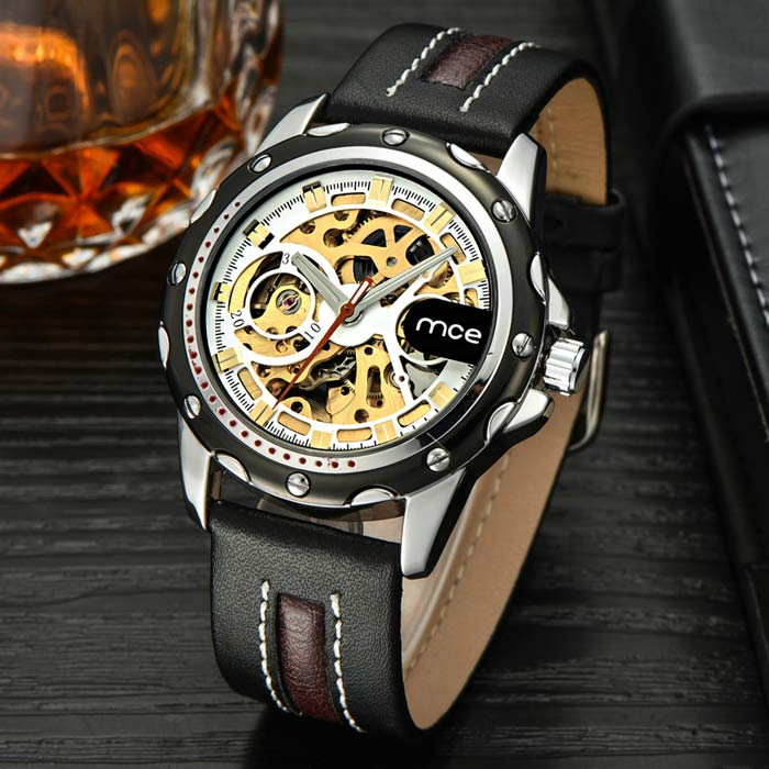 Buy MCE Skeleton Self-Winding Mechanical Analog Watch - Black + Golden with Litecoins with Free Shipping on Gipsybee.com