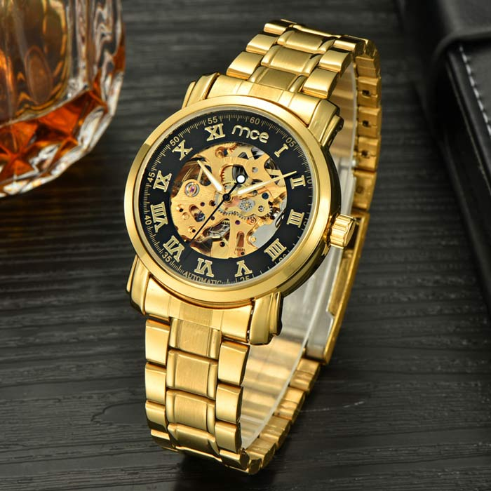 Buy MCE Skeleton Auto-Mechanical Analog Wrist Watch - Gold + Black with Litecoins with Free Shipping on Gipsybee.com