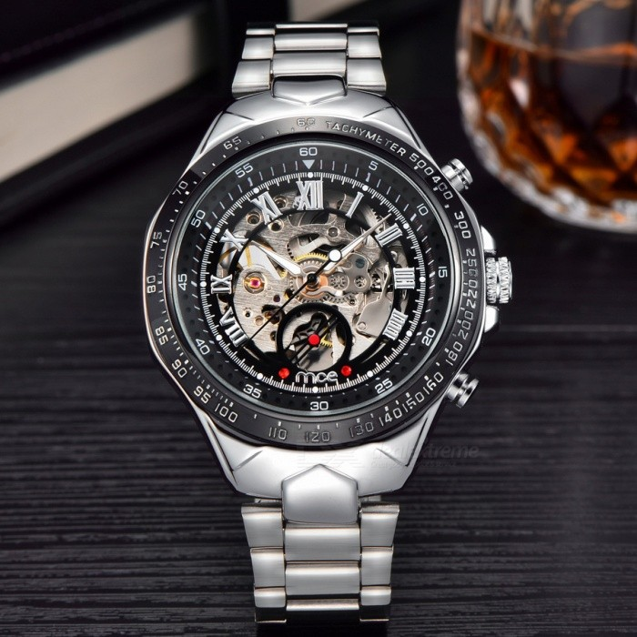 MCE Men's Skeleton Round Dial Auto-Mechainical Watch - Black + Silver