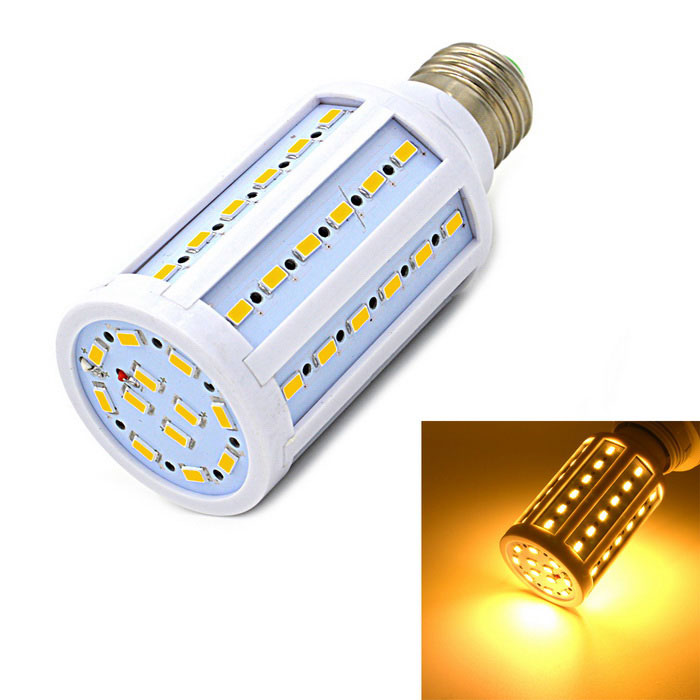 Angibabe E27 7.5W LED Corn Bulb Light Warm White 800lm 60-SMD - WhiteE27<br>Form  ColorWhite + MulticolorColor BINWarm WhiteMaterialMetal + plasticQuantity1 DX.PCM.Model.AttributeModel.UnitPowerOthers,7.5WRated VoltageAC 220-240 DX.PCM.Model.AttributeModel.UnitConnector TypeE27Chip BrandOthers,N/AChip Type5730 SMD LEDEmitter TypeOthers,5730 SMD LEDTotal Emitters60Actual Lumens800 DX.PCM.Model.AttributeModel.UnitColor Temperature3000KDimmableNoCertificationCE, RoHSPacking List1 x Bulb<br>