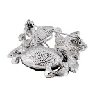 Flower & Butterfly Design Crystal Brooch - Silver