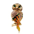 Cute Owl Style Crystal Decorated Alloy Brooch - Golden