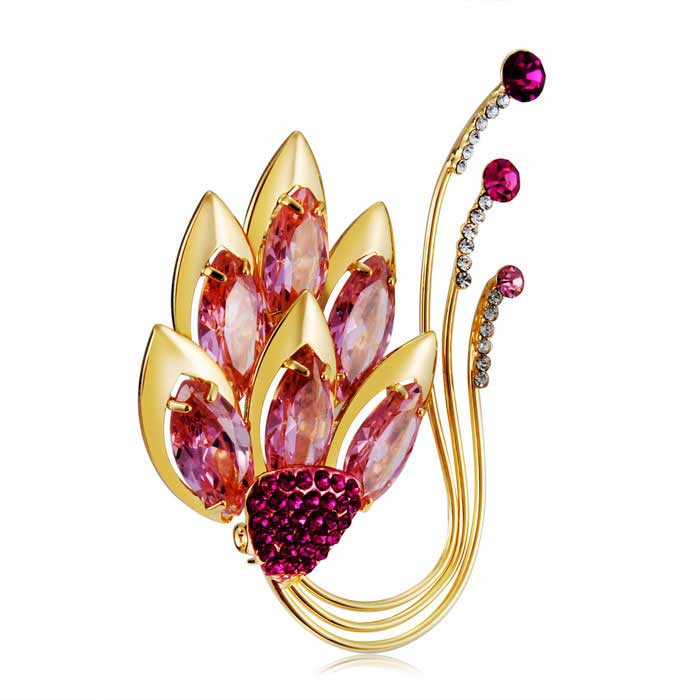 Maple-Leaf-Style-Crystals-Inlaid-Brooch-Golden
