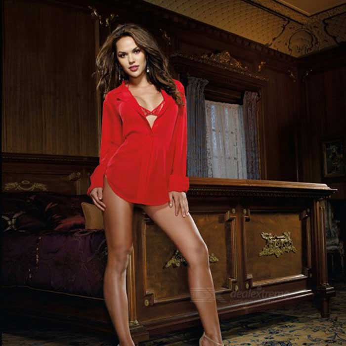Long-Sleeve Women Chiffon Blouse Top w/ Bra & Thong - Red (M)