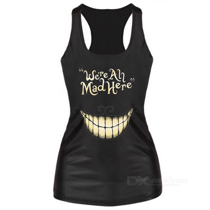 Buy Women's Toothy Smile Pattern Slim Nylon + Spandex Vest Top - Black with Litecoins with Free Shipping on Gipsybee.com