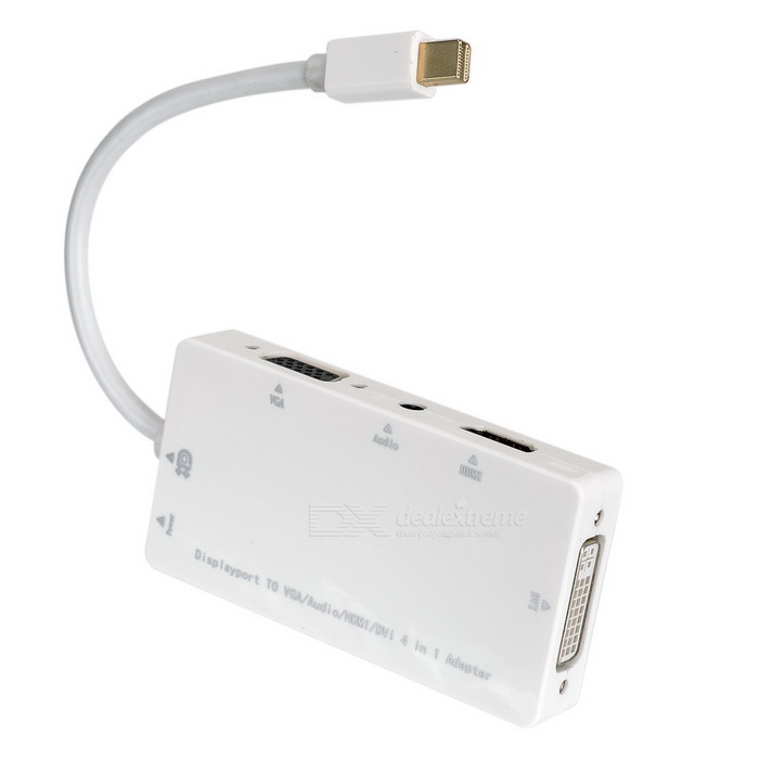 Mini DisplayPort to VGA / Audio / HDMI / DVI Adapter Cable - WhiteAV Adapters And Converters<br>Form  ColorWhiteMaterialABSQuantity1 DX.PCM.Model.AttributeModel.UnitShade Of ColorWhiteConnectorHDMI,3.5mm,VGA,Micro USB,Mini Displayport,DVIPacking List1 x Adapter cable (15.5cm±2cm)<br>