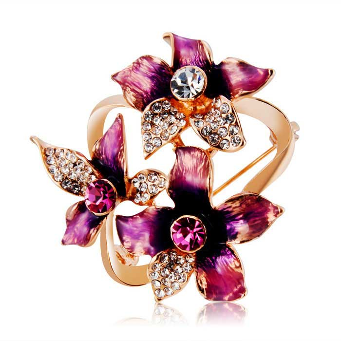Buy Beautiful Flowers Style Alloy + Crystal Brooch - Rose Gold with Litecoins with Free Shipping on Gipsybee.com