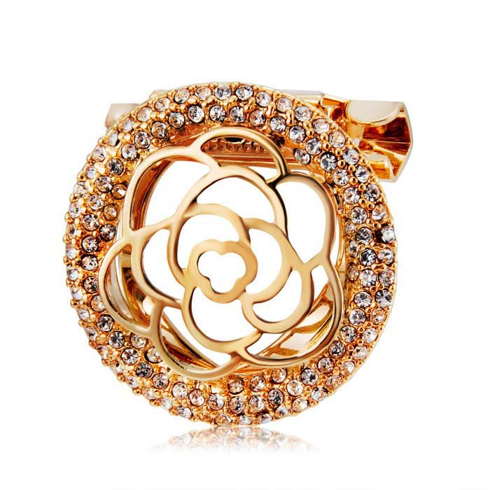 Simple Rose Style Alloy + Crystal Brooch - Golden
