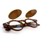 SENLAN UV400 Protection PC Lens Clamshell Sunglasses - Leopard + Tawny