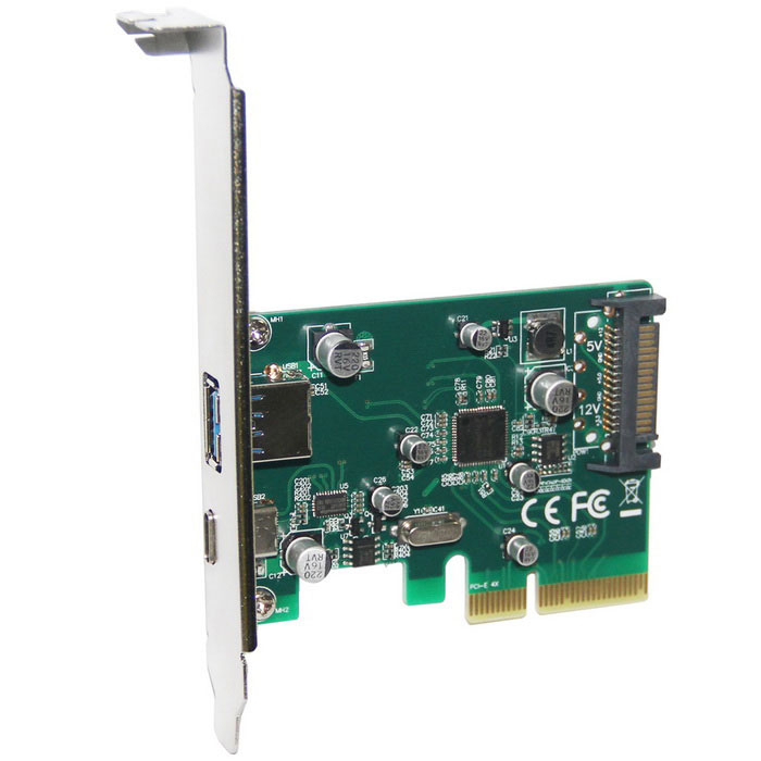 WBTUO-Desktop-PCI-E-4X-to-USB-31-Type-C-2b-Type-A-Adapter-Card-Green