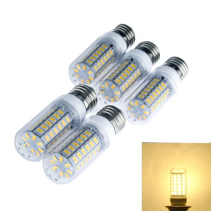 Buy E27 15W Warm White 3000K 1200lm 56-LED Corn Light (5PCS/AC 220~240V) with Litecoins with Free Shipping on Gipsybee.com