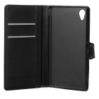 Lichee Pattern PU Case w/ Stand, Card Slots for Sony M4 AQUA - Black