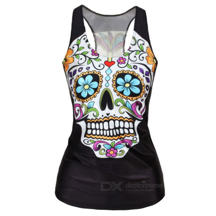 Buy Women's Skull Pattern Elastic Slim Nylon + Spandex Vest Top - Black with Litecoins with Free Shipping on Gipsybee.com