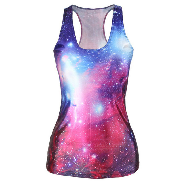 Buy Women's Sexy Starry Sky Printing Nylon + Spandex Vest Top - Red + Blue with Litecoins with Free Shipping on Gipsybee.com