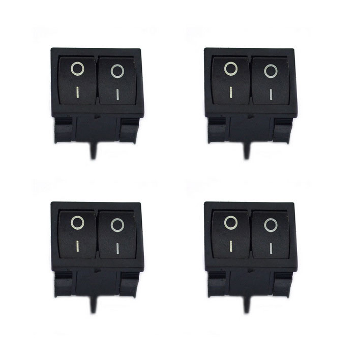 Jtron 125~250V 6~10A 4-Pin Dual Rocker Switch - Black (4PCS)Switches &amp; Adapters<br>Form  ColorBlackModelN/AQuantity4 DX.PCM.Model.AttributeModel.UnitMaterialPlastic + ironPower Range125~250VMax. Current6~10AWorking Temperature-25~85 DX.PCM.Model.AttributeModel.UnitPacking List4 x Switches<br>