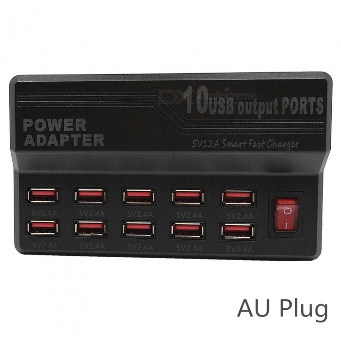5V 12A 10-Port USB Smart Fast Charger w/ AU Plug Power Cable - Black