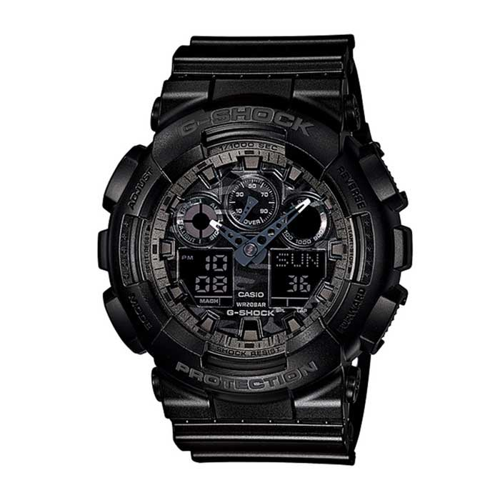 Genuine Casio G-Shock GA-100CF-1ADR Analog-Digital Watch - Metallic Camouflage Black