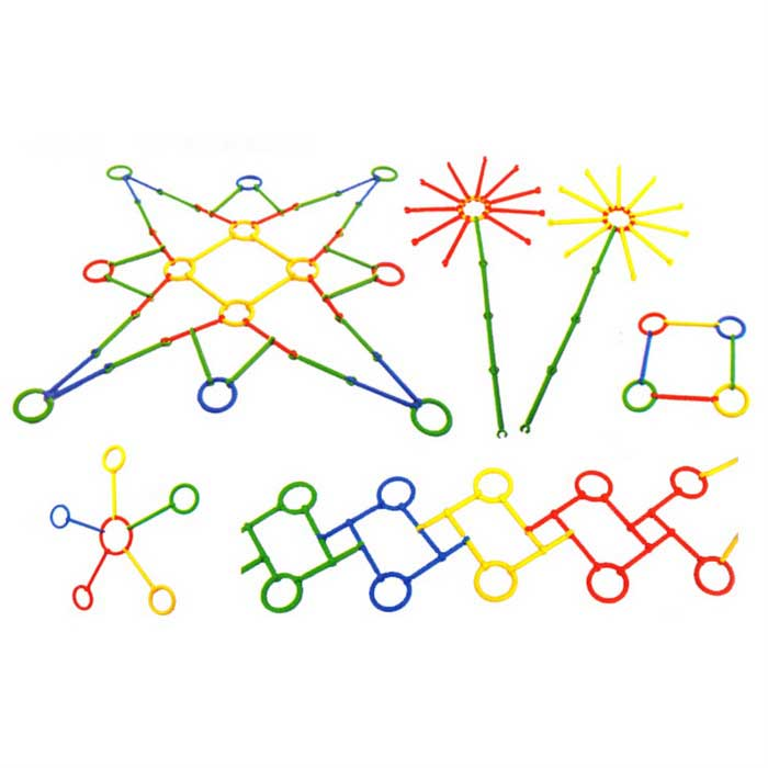 Magical Mixed Colored Abs Building Toy Sticks Circles 140 Pcs