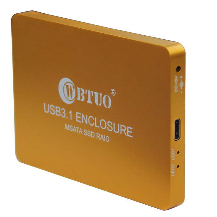 WBTUO USB3.1 Type-C to MSATA SSD RAID HDD Enclosure - Golden YellowHDD Enclosures &amp; Cases<br>Form ColorGolden YellowModelLR31-1352SQuantity1 DX.PCM.Model.AttributeModel.UnitMaterialAluminum-magnesium alloyForm FactorOthers,30MM X 30MM, 30MM X 50MMInterfaceOthers,USB3.1 Type-CPowered ByAC ChargerSupports Max. Capacity800 DX.PCM.Model.AttributeModel.UnitSlotOthers,MSATASlot Number2Max Sequential Read800MB/secMax Sequential Write800MB/secOther FeaturesSupport Raid0, Raid1, PM three modelsCertificationCEPacking List1 x MSATA SSD RAID HDD Enclosure1 x Data cable (cable length: 25cm)<br>