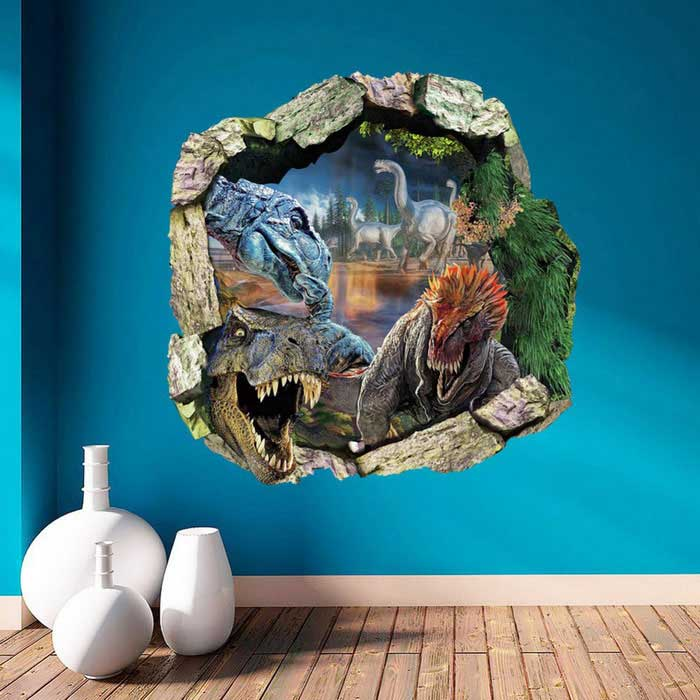 3D Dinosaurs Through the Wall PVC Wall Sticker Decal - Multi-Color for sale in Bitcoin, Litecoin, Ethereum, Bitcoin Cash with the best price and Free Shipping on Gipsybee.com