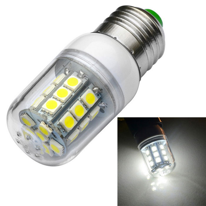 JIAWEN E27 3W LED Corn Lamp Bulb Cold White 350lm 27-SMD 5050 - White
