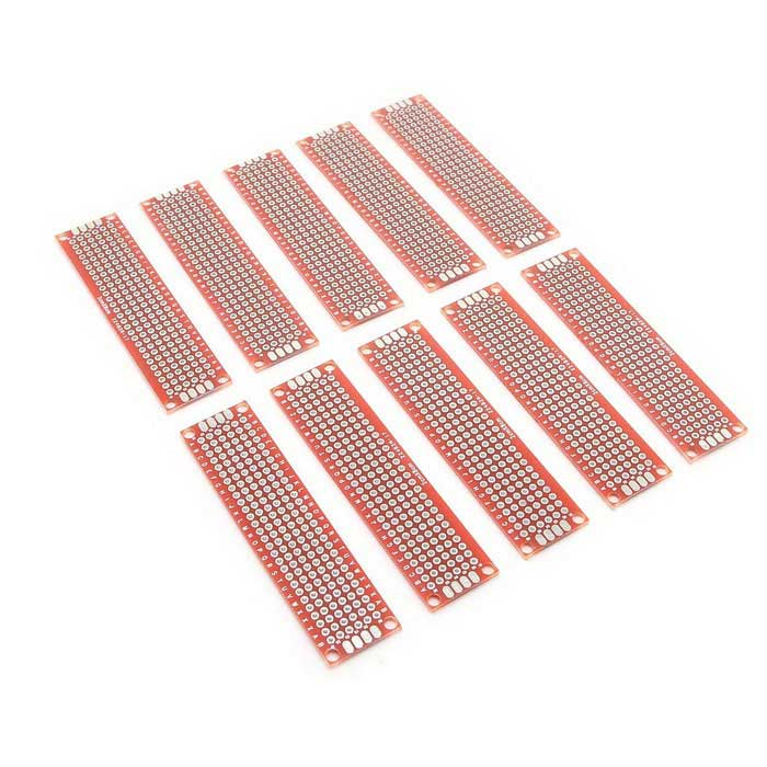Double Side Prototype PCB Breadboards - Red (2*8cm / 10PCS)
