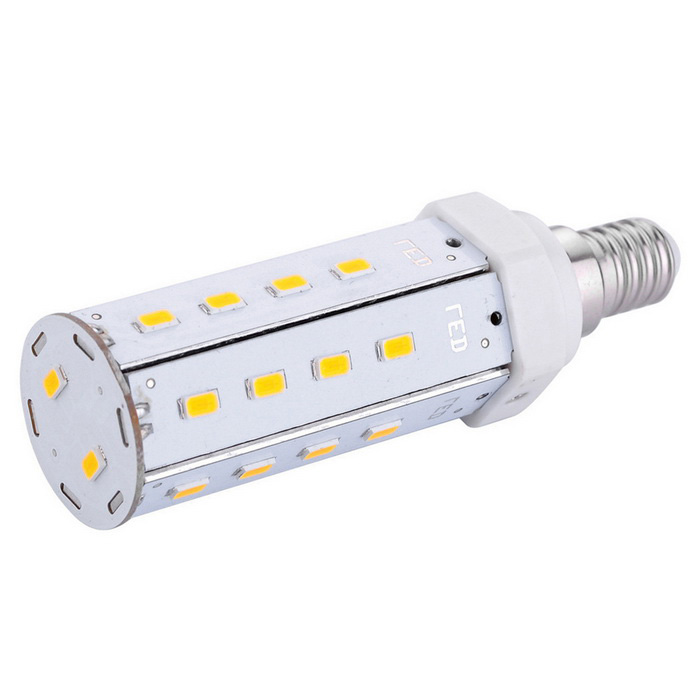 E14 9W LED Corn Bulb Lamp Warm White Light 3000K 800lm 26-SMDE14<br>Form  ColorWhite + Orange + Multi-ColoredColor BINWarm WhiteMaterialAluminum alloyQuantity1 DX.PCM.Model.AttributeModel.UnitPower9WRated VoltageAC 100-240 DX.PCM.Model.AttributeModel.UnitConnector TypeE14Emitter TypeOthers,5630 SMD LEDTotal Emitters26Theoretical Lumens1020 DX.PCM.Model.AttributeModel.UnitActual Lumens800 DX.PCM.Model.AttributeModel.UnitColor Temperature3000KDimmableNoBeam Angle360 DX.PCM.Model.AttributeModel.UnitPacking List1 x LED bulb<br>