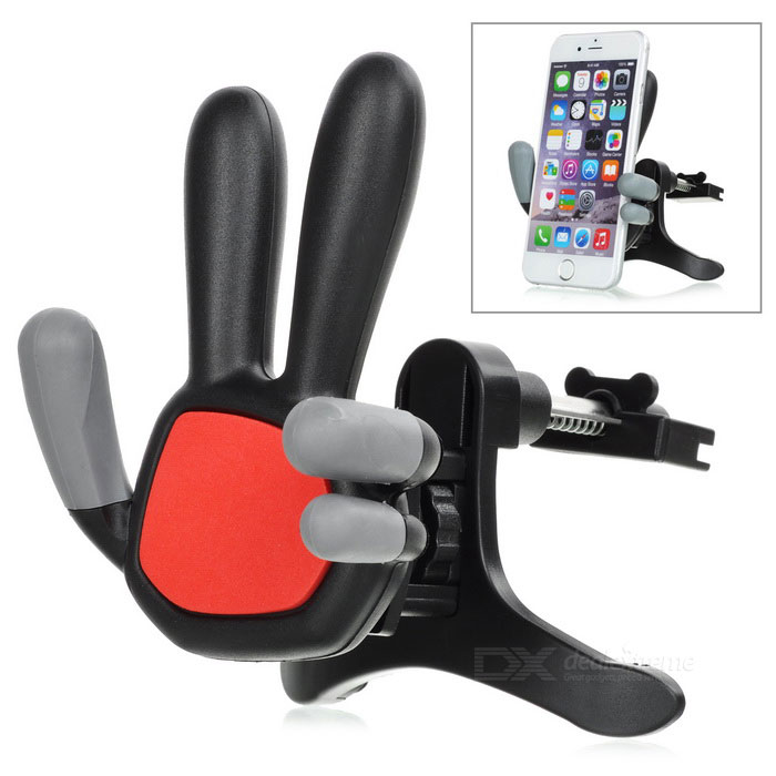 Palm Design Universal Car Air Vent Holder for Cell Phone - Black + Red