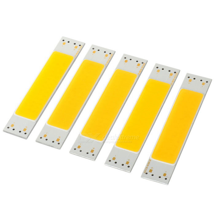 5W LED Light Module Warm White 3200K 716lm 48-COB (DC 10~11V / 5PCS)MaterialAluminum alloy + siliconeForm  ColorWhite + Orange + Multi-ColoredQuantity5 DX.PCM.Model.AttributeModel.UnitPowerOthers,10.7WRate VoltageDC 10~11VWorking Current350~400 DX.PCM.Model.AttributeModel.UnitDimmableNoConnector TypeOthers,Positive &amp; Negative soldering pointEmitter TypeCOBTotal Emitters48Color BINWarm WhiteBeam Angle140 DX.PCM.Model.AttributeModel.UnitColor Temperature12000K,Others,3000~3200KTheoretical Lumens750 DX.PCM.Model.AttributeModel.UnitActual Lumens500~716 DX.PCM.Model.AttributeModel.UnitOther FeaturesLight source for emergency light, backlight and table lamps.Power5 DX.PCM.Model.AttributeModel.UnitPacking List5 x Light modules<br>
