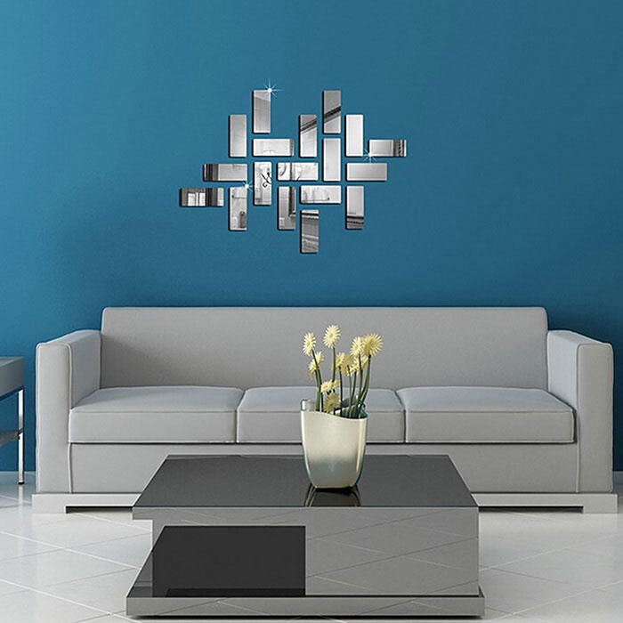 Buy Square 3D Effect DIY Home Decal Crystal Mirror Wall Sticker - Silver with Litecoins with Free Shipping on Gipsybee.com
