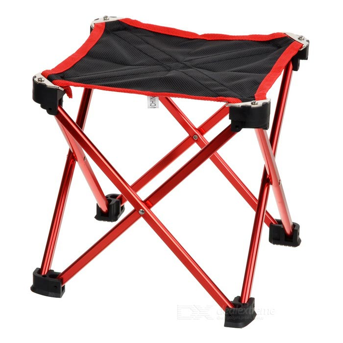Ultra Light Aluminum Alloy Outdoor Folding Stool Chair - Red (M)Shovels ?Camp Tool<br>Form  ColorBlack + RedQuantity1 DX.PCM.Model.AttributeModel.UnitMaterialAluminum alloyBest UseFamily &amp; car camping,TravelTypeOthers,StoolPacking List1 x Folding stool1 x Storage bag<br>