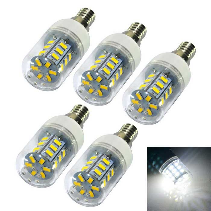 JIAWEN E14 4W 500lm 24-SMD 5730 LED Cold White Light Lamp Bulb (5PCS)E14<br>Form  ColorWhiteColor BINCold WhiteMaterialPlasticQuantity1 DX.PCM.Model.AttributeModel.UnitPower4WRated VoltageAC 220 DX.PCM.Model.AttributeModel.UnitConnector TypeE14Emitter TypeOthers,5730 SMDTotal Emitters24Theoretical Lumens400-450 DX.PCM.Model.AttributeModel.UnitActual Lumens400-450 DX.PCM.Model.AttributeModel.UnitColor Temperature12000K,Others,6000-6500KDimmableNoBeam Angle360 DX.PCM.Model.AttributeModel.UnitPacking List5 x LED lights<br>