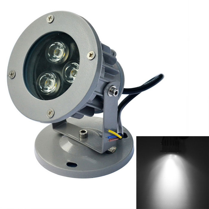 JIAWEN Waterproof 3W LED Spotlight White Light 6500K 270lm - Grey