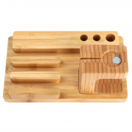 Creative-Bamboo-Holder-for-APPLE-IWATCH-IPHONE-Brown