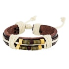 Bronze Spring Wooden Beads Top Layer Cow Leather Bracelet - Brown